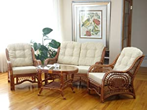 Malibu Lounge Set of 4: 2 Natural Rattan Wicker Chairs, Loveseat with Cream Cushion and Coffee Table w/Glass Handmade, Colonial