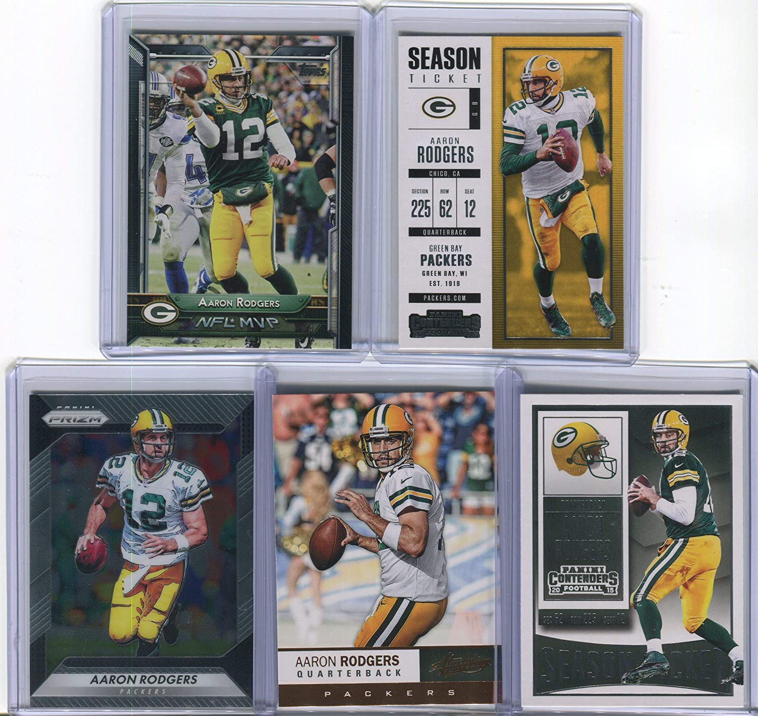 Aaron Rodgers Green Bay Packers Assorted Football Cards 5 Card Lot