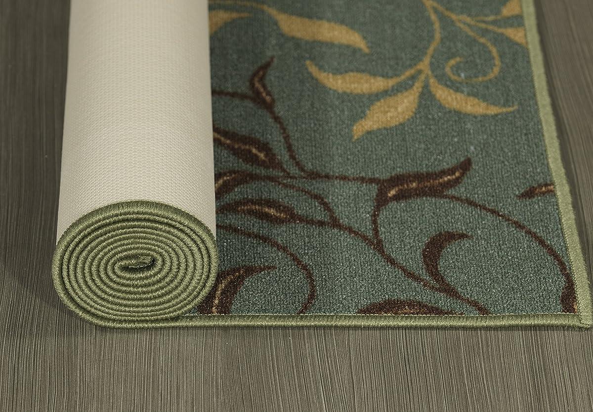 "Ottomanson Otto Home Contemporary Leaves Design Modern Area Rug Hallway Runner, 27"" X 910"", Sage Green/Aqua Blue"