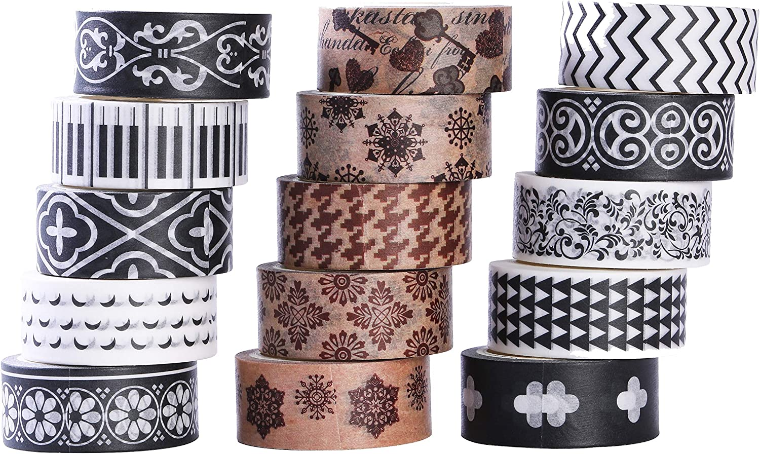 DIY Gift Wrapping Scrapbooking and Craft 27 Rolls Washi Tape Set Sticky Adhesive Paper Masking Tape Decorative Sticker with Lovely Printed Patterns and Long-Lasting Colors