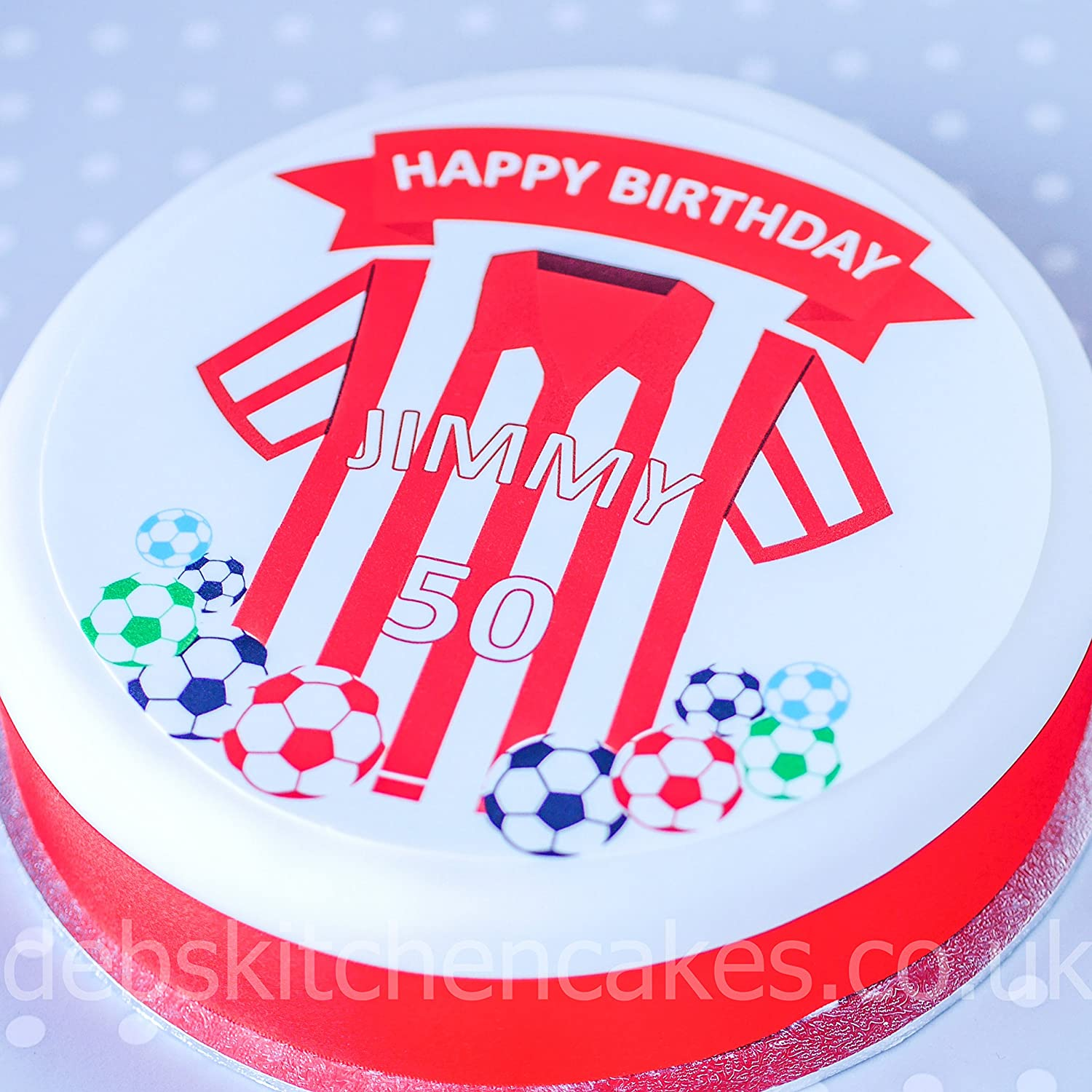 Football Cake Topper Shirt Colour Your Personalised Message