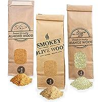 Smokey Olive Wood 3x 300ml, polvere per affumicatura a freddo - 1x olivo, 1x aranceto, 1x mandorlo