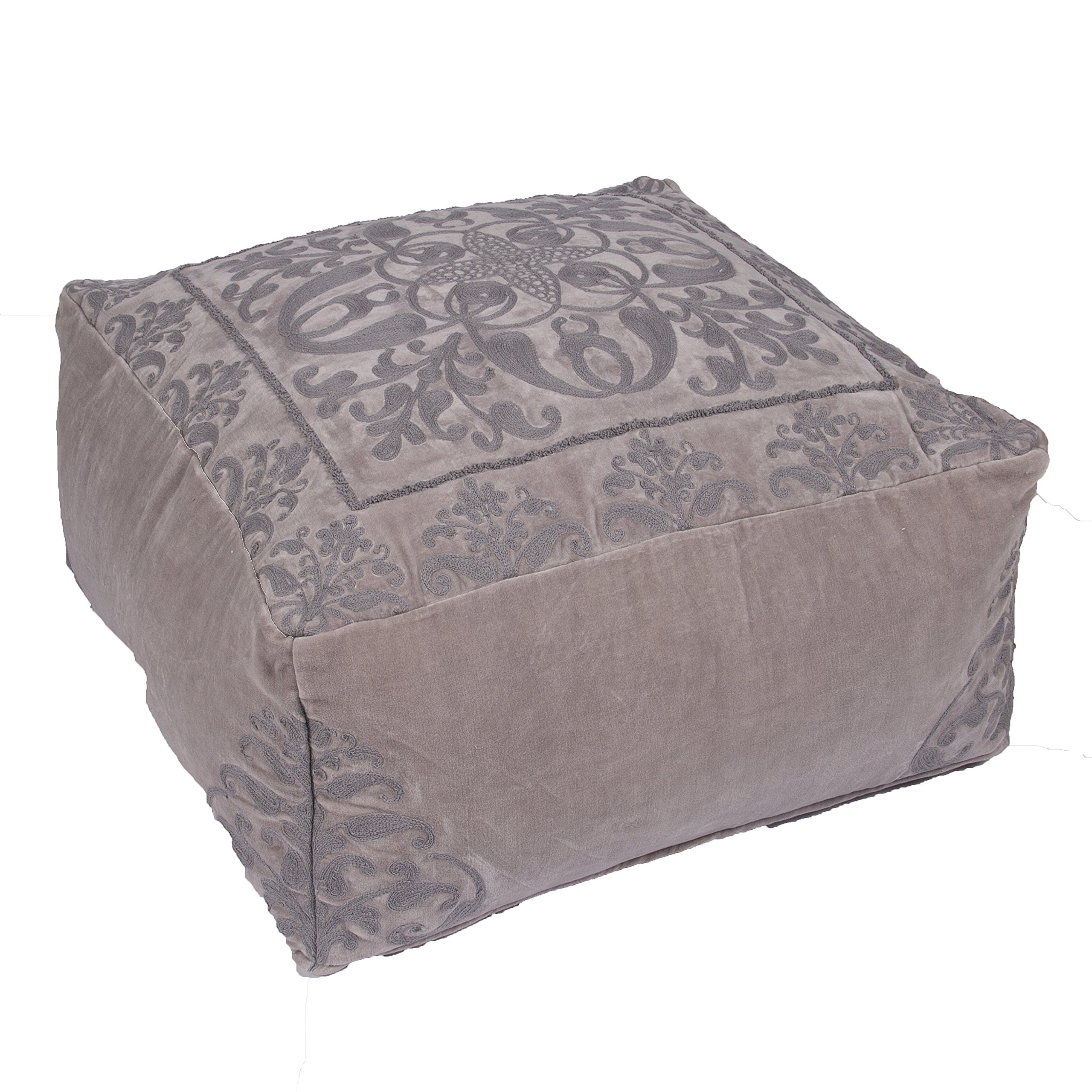 Jaipur Floral Pattern Gray Cotton Pouf, 24-Inch x 24-Inch x 12-Inch, Creme Brulee Traditions