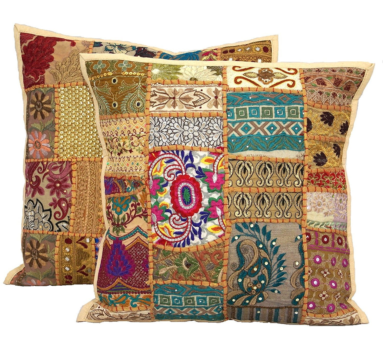 16 x 16 サリーハンドメイドパッチワーク枕カバー、エスニック刺繍クッションカバー2ピースセットIndianパッチワーククッション枕 B075VPDVS6