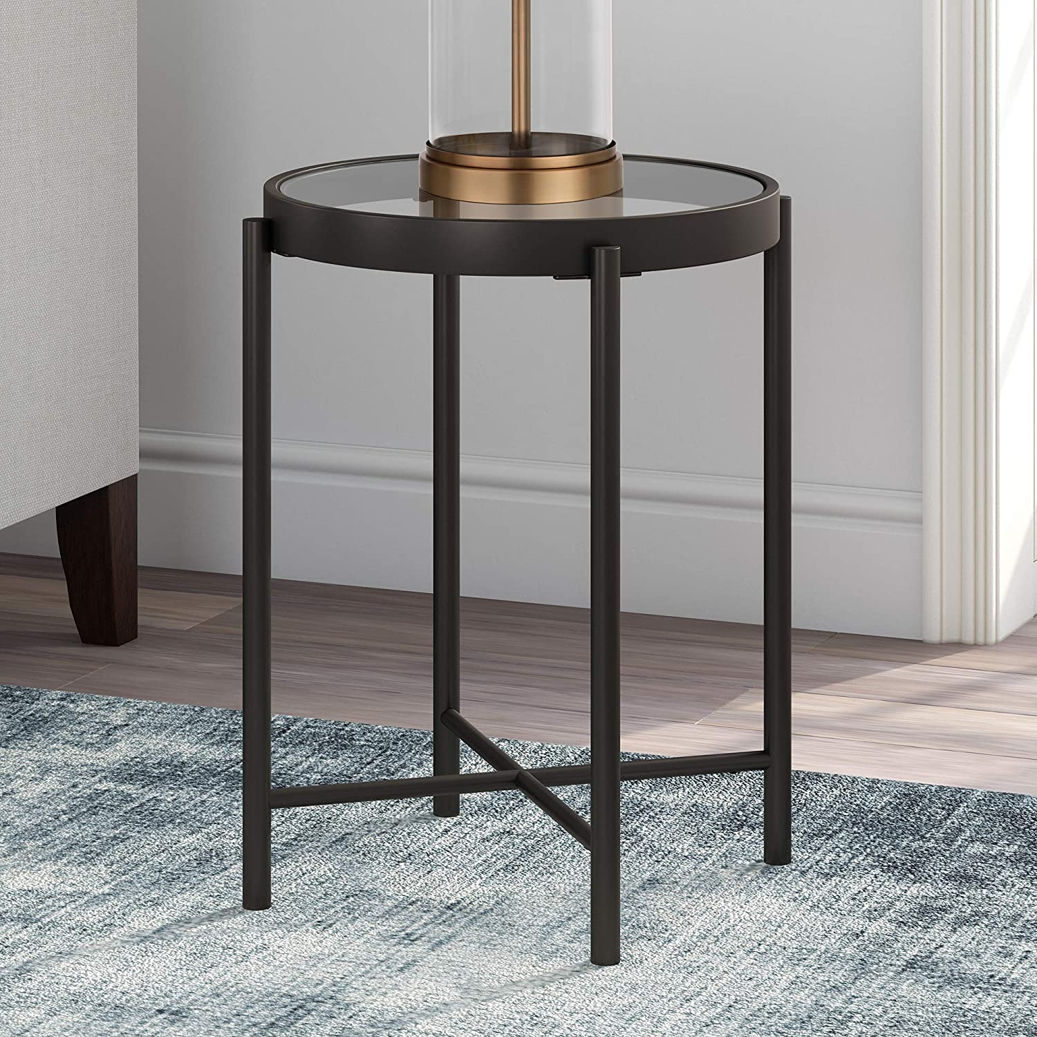 """Henn&Hart ST0198 Modern Round Glass End, Night Stand in Blackened Bronze for Living Room, Bedside, Home Office Side Table, 22"""" H x 18"""" L x 18"""" W, Black"""