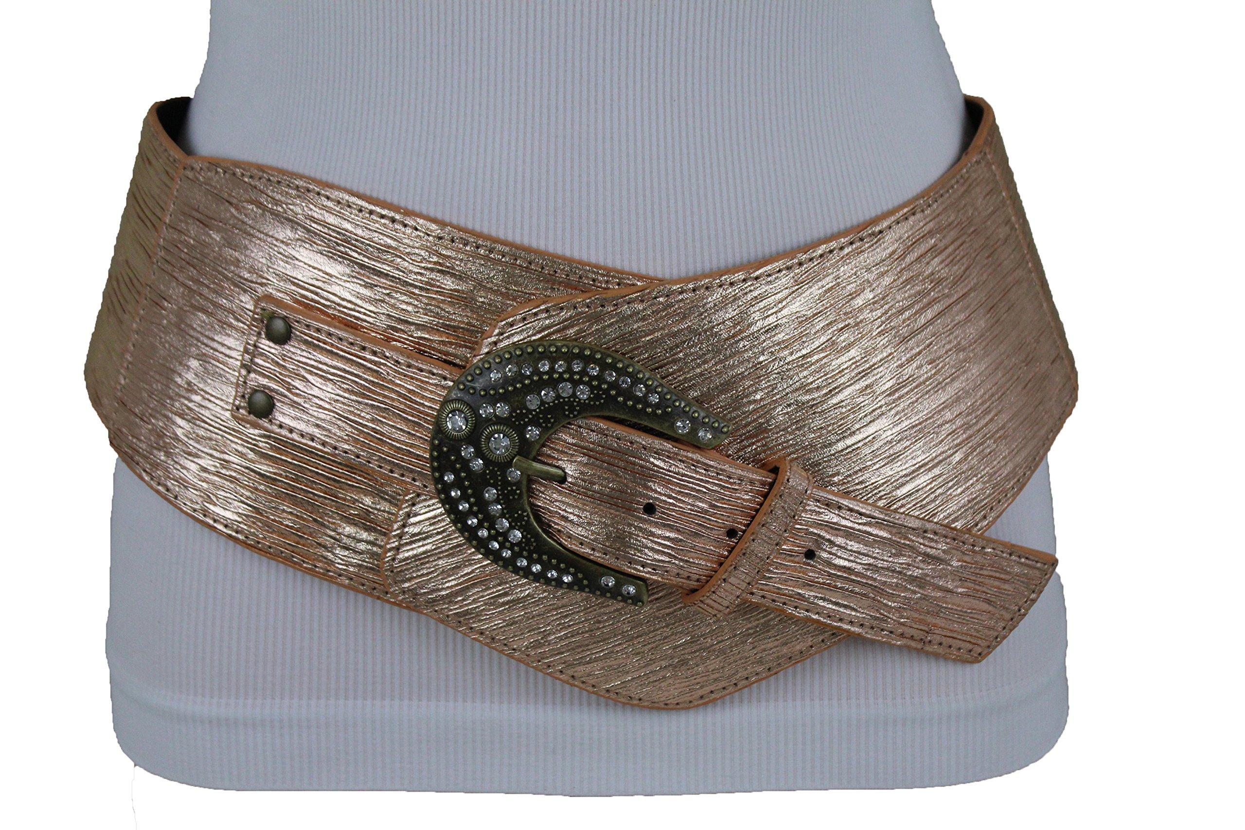 TFJ Women Extra Wide Western Fashion Hip Belt Big Metal Buckle Beads Studs Silver S M L Xl (Rose Gold S/M 33''-37'')
