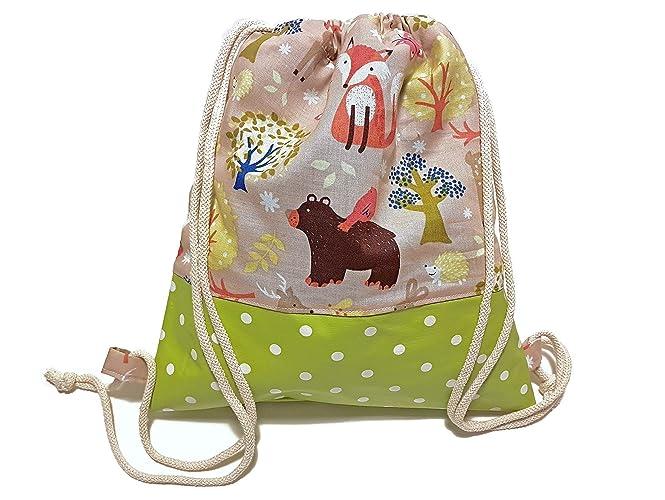 520db41fdca5d Turnbeutel - Waldtiere Grün - Rucksack für Kinder