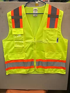 True Crest safety vest with 2 inch reflective stripes and zippers, and 4 pockets-