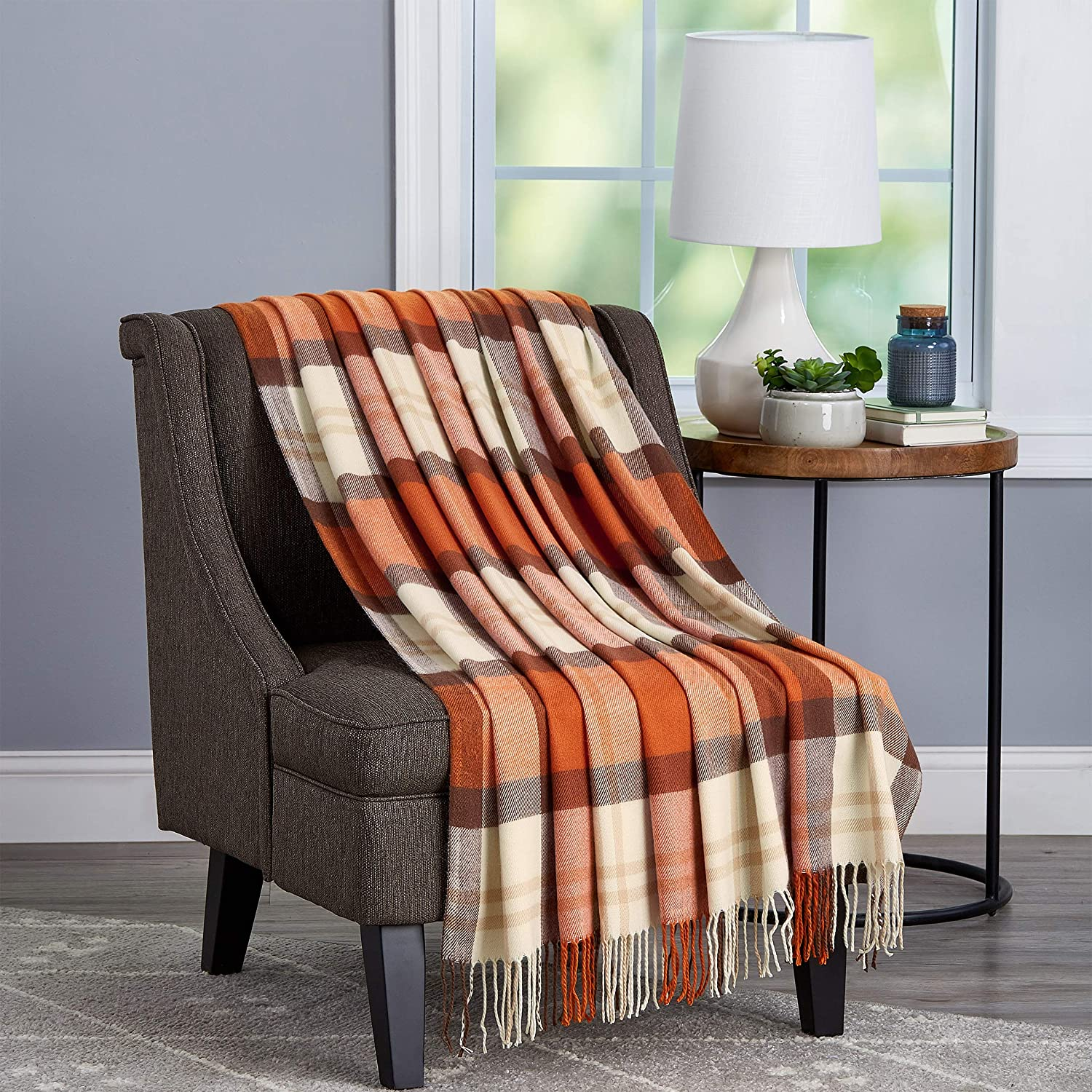 Lavish Home Collection Soft Blanket-Oversized, Luxuriously Fluffy, Vintage Look and Cashmere-Like Woven Acrylic - Breathable and Stylish Throws, Spice Plaid