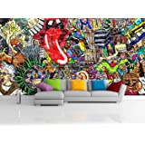 Removable Wallpaper Mural Peel & Stick Music Collage on a Large Brick Wall Graffiti (124H X 186W)
