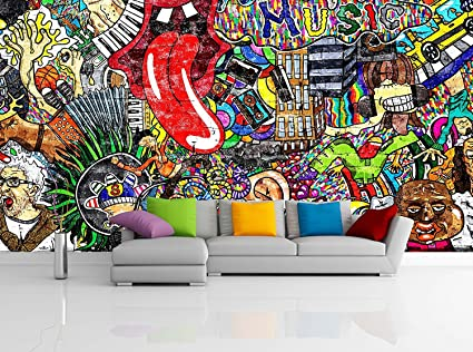Amazoncom Removable Wallpaper Mural Peel Stick Music Collage on