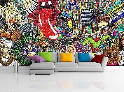 amazon com removable wallpaper mural peel \u0026 stick music collage onimage unavailable
