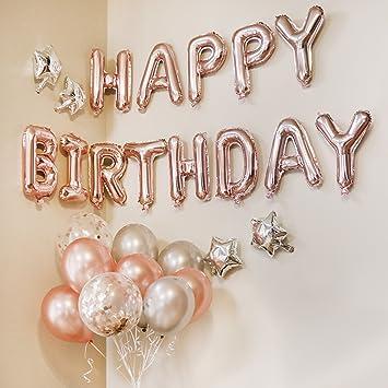 Amazon BalloonPop Rose Gold Happy Birthday Balloon Banner