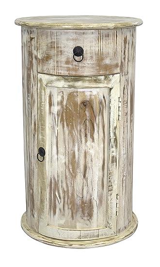 Schrank rund mit Schublade und Türe 75cm aus Mango-Holz: Amazon.de ...