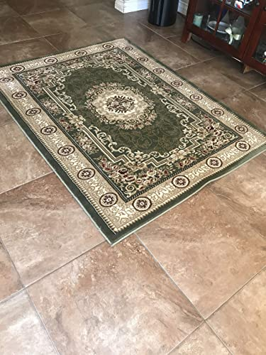 Persian Traditional Floral 500,0000 Point Area Rug Green Burgundy Beige Design 403 8 Feet X 10 Feet 6 Inch