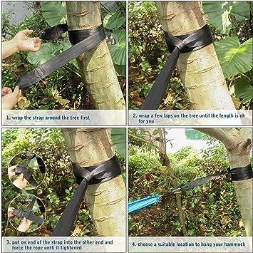 Unigear Correas para árbol de hamaca, correas resistentes y ajustables, presentadas en una bolsa de cordón compacta, fácil y fácil de instalar con 2 ...