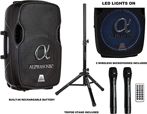 Alphasonik 15 Portable Rechargeable Battery Powered 1500W PRO DJ Amplified Loud Speaker with 2 Wireless Microphones Echo Bluetooth USB SD Card AUX MP3 FM Radio PA System LED Ring Karaoke Tripod Stand