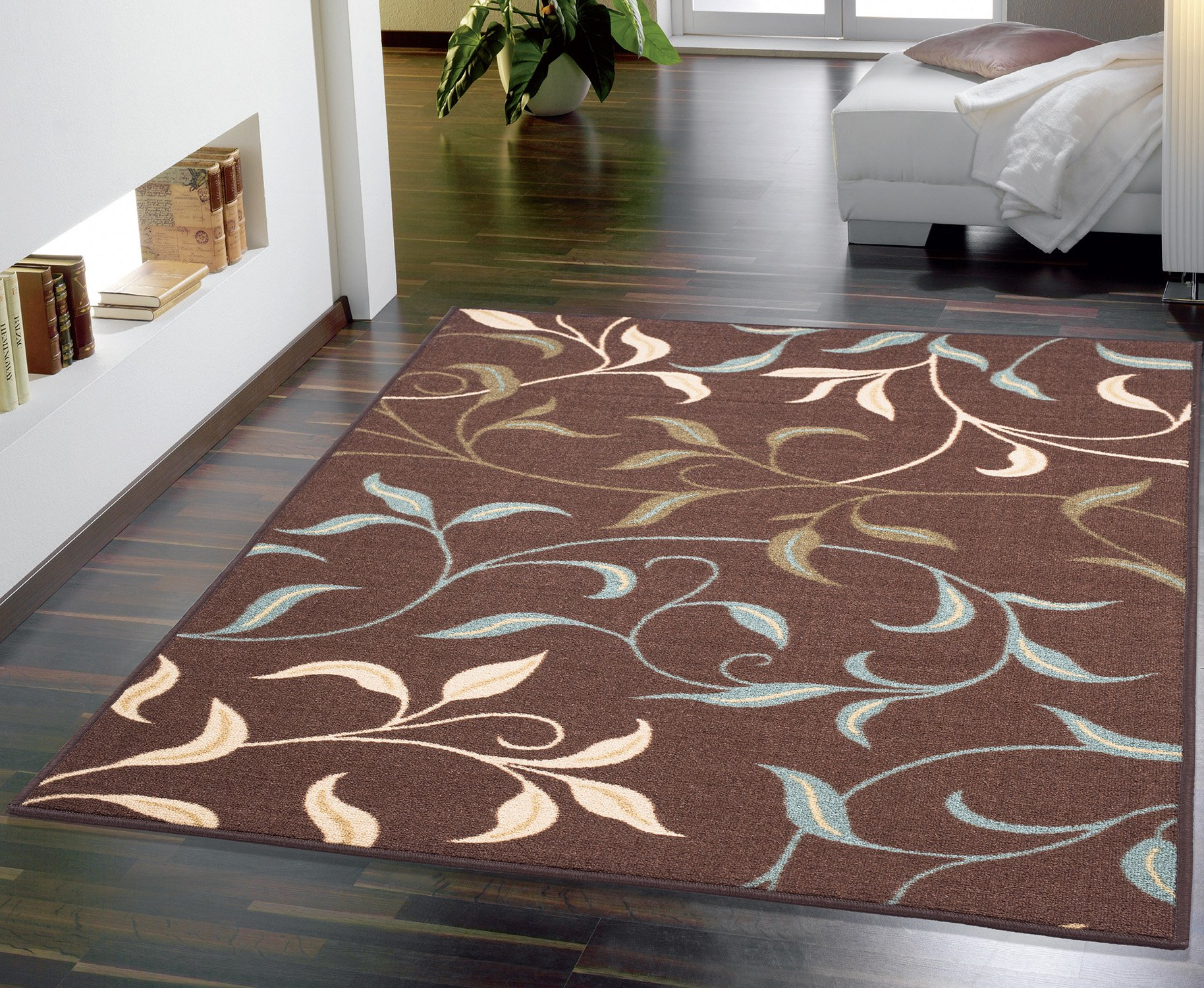 Ottomanson Ottohome Collection Contemporary Leaves Design Non-Skid Rubber Backing Modern Area Rug, 8'2'' X 9'10'', Chocolate Brown by Ottomanson
