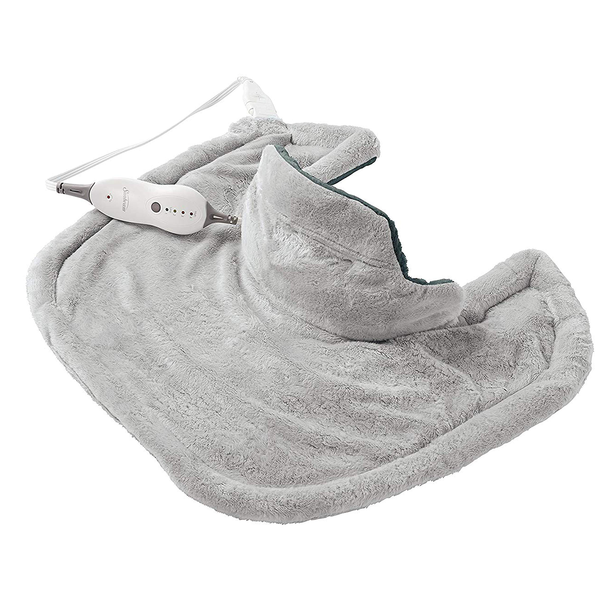 Sunbeam Renue Contouring Neck and Shoulder Heating Pad, 4 Heat Settings, 2-Hour Auto-Off, Machine Washable, 22'' x 19'', Grey
