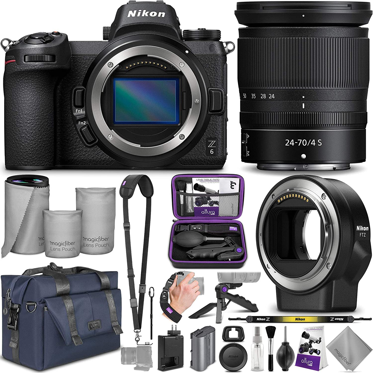 Nikon Z6 Mirrorless Digital Camera with Nikkor Z 24-70mm Lens + Nikon FTZ Mount Adapter with Altura Photo Complete Accessory and Travel Bundle