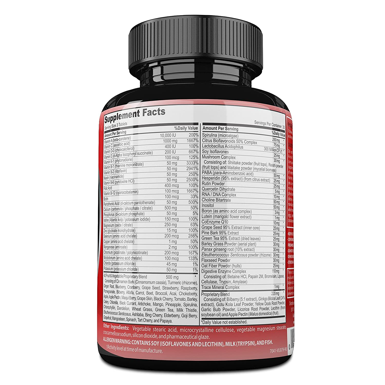 Amazon.com: Just For Life Daily Multivitamin Nutritional Supplement For Men & Women: Vitamins D E C B Complex (Niacin Folic Acid B12 Biotin) + Minerals, ...