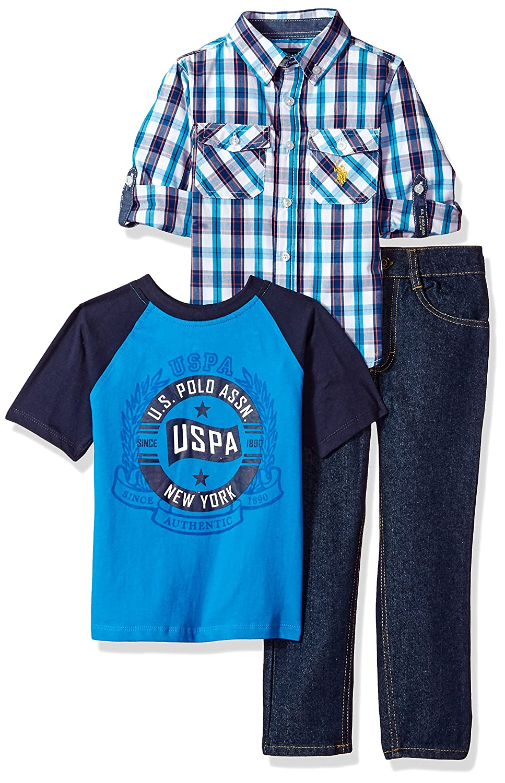 U.S. Polo Assn. Boys' Little Long Sleeve T Shirt and Pant Set