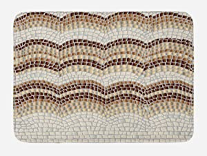 Ambesonne Beige Bath Mat, Gradient Colored Mosaic Waves Setting Antique Roman Royal Dated Retro Patterns, Plush Bathroom Decor Mat with Non Slip Backing, 29.5