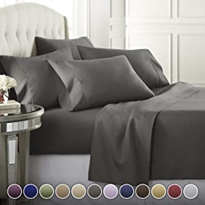 6 Piece Hotel Luxury Soft 1800 Series Premium Bed Sheets Set, Deep Pockets, Hypoallergenic, Wrinkle & Fade Resistant Bedding Set(Calking, Gray)