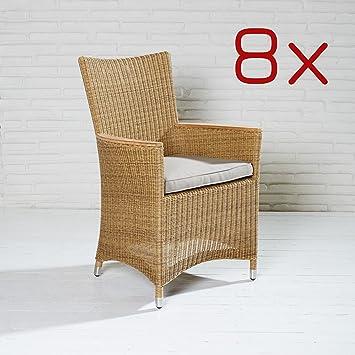 Juego 8 sillas Jardín Marrón Natural Terraza Sillón brazo silla ...