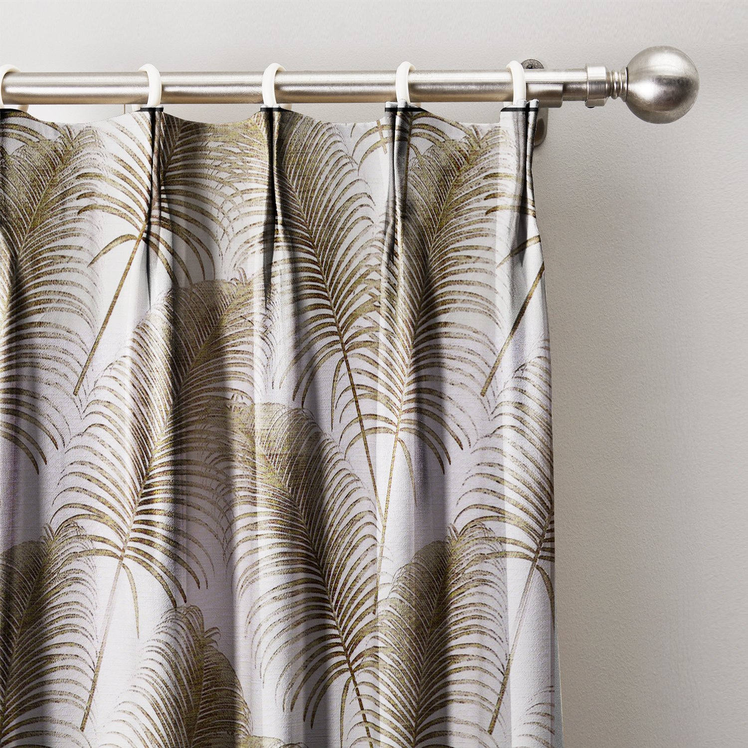 Fawn Leaves Print Curtain 120''W x 96''L, Pinch Pleat Blackout Lining Darpes Panel For Bedroom Living Room Hotel Restaurant (1 Panel)