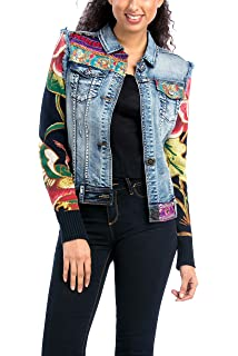 Desigual Womens Woven Jacket with Patchwork Design