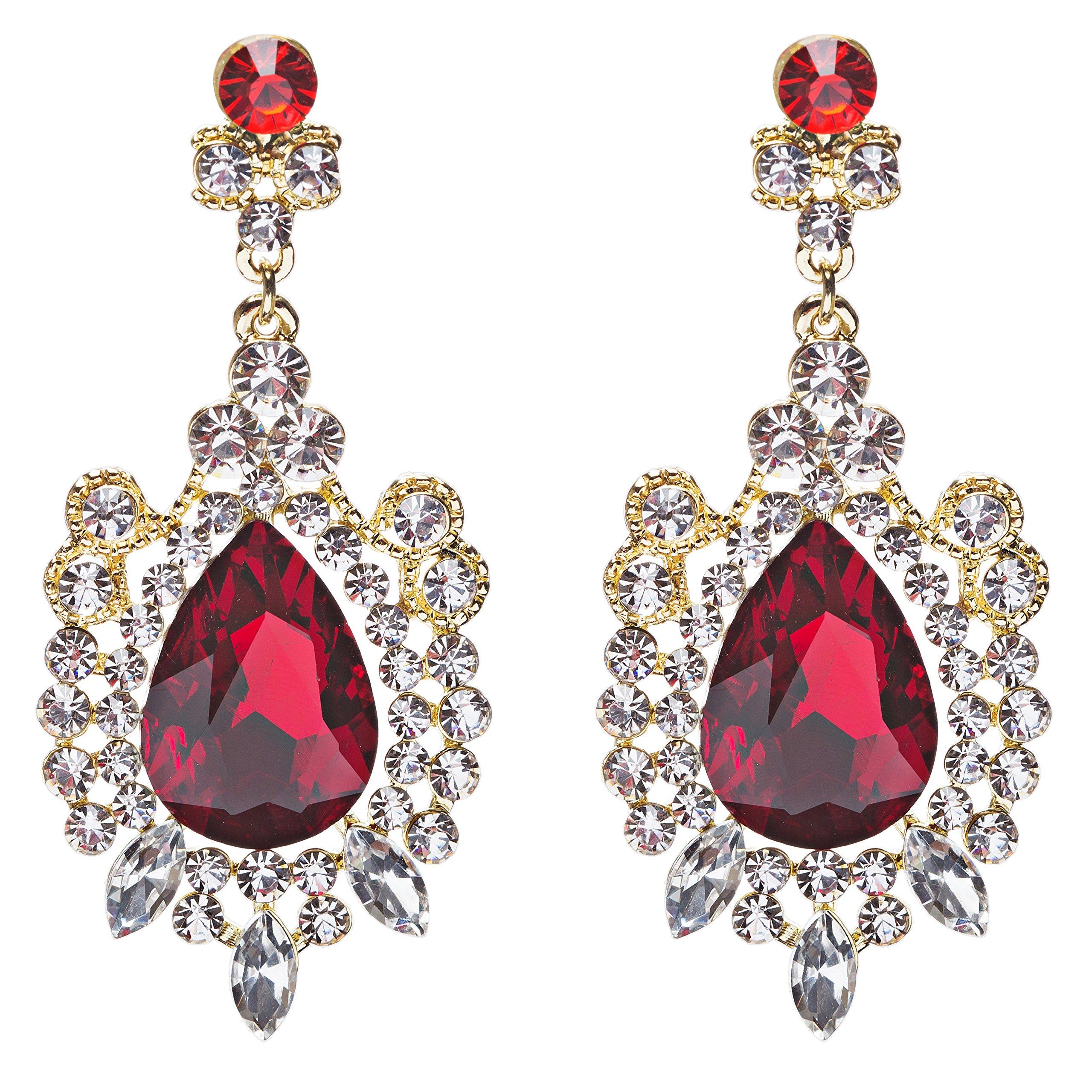 Beautiful Stunning Glamorous Crystal Rhinestone Teardrop Dangle Earrings Red