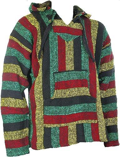 TALLA L. Siesta - Sudadera con capucha estilo mexicano, diseño hippy, colores rasta, Sz, M, L, XL, XXL