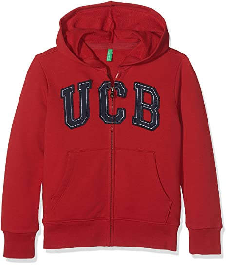07c Garçon With Of Sweater Rouge Hood United red Shirt Colors Logo Benetton Ua1q4f