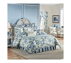 Waverly Reversible Floral/Striped Engagement Bedding Collection, King, Porcelain