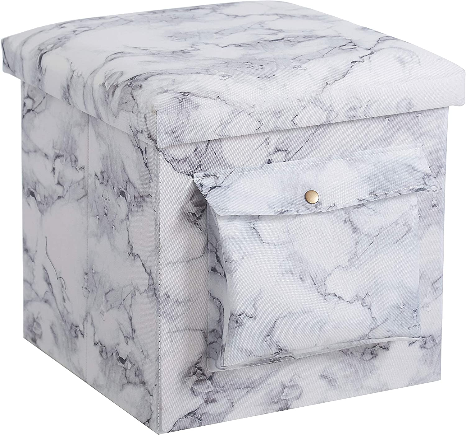 "Urban Shop Collapsible Storage Ottoman with Laptop Stand Tray Lid and Storage Pocket, Marble,15""x15""x15"", White"