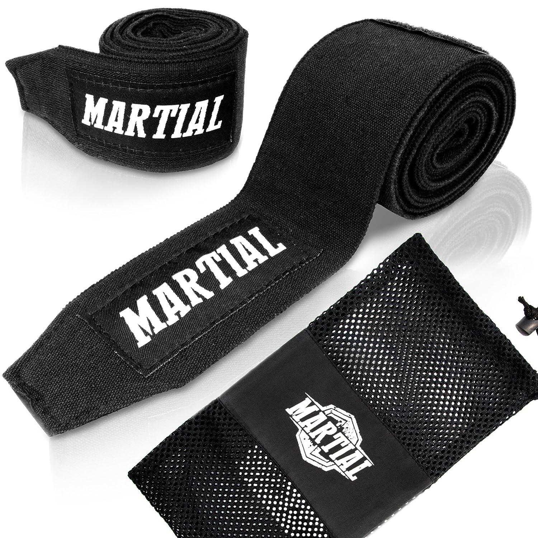 Vendajes de boxeo MARTIAL, con velcro de calidad y enganche de pulgar. Vendajes para MMA, boxeo, kickboxing, sparring, ¡no se desgastan! Vendajes de muñeca, absorción de sudor óptima. Super Active Sports BoBa01_3M