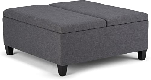 Simpli Home Ellis 36 inch Wide Square Coffee Table Lift Top Storage Ottoman, Cocktail Footrest Stool in Upholstered Slate Grey Linen Look Fabric for the Living Room, Contemporary