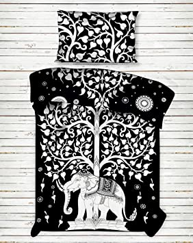 Black & White Elephant Tree of Life Printed Bedspread Blanket Beach Throw Bed Cover Bed Throw Bedding Bed Sheets Cotton Single Coverlet Bed Sheet Bed spread By Handicraft-Palace