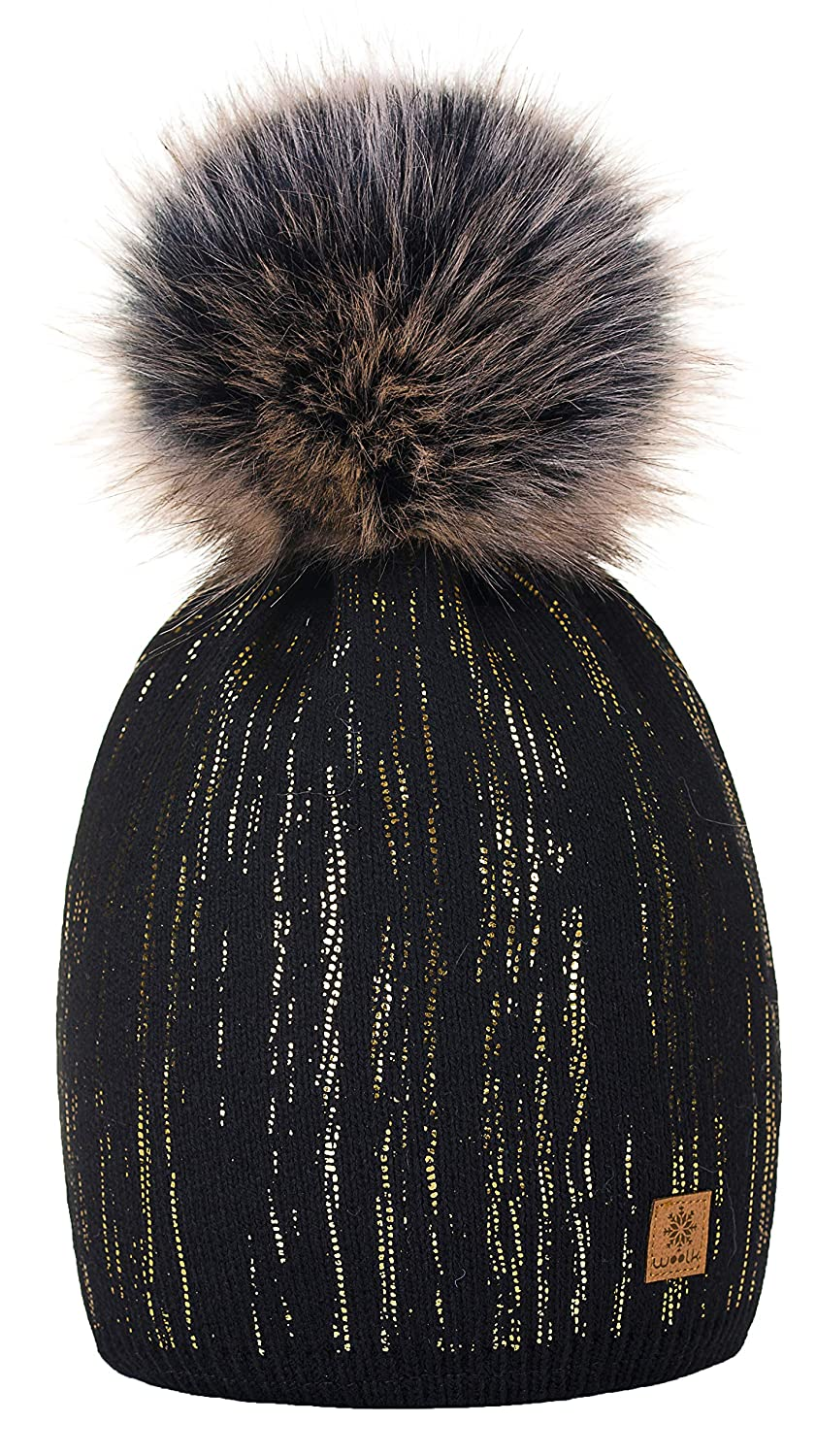 d6b0c32b0c7 4sold Womens Ladies Winter Hat Wool Knitted Beanie with Large Pom Pom Cap  SKI Snowboard Hats Bobble Gold Circle Rain Crystals (Black Gold)   Amazon.co.uk  ...