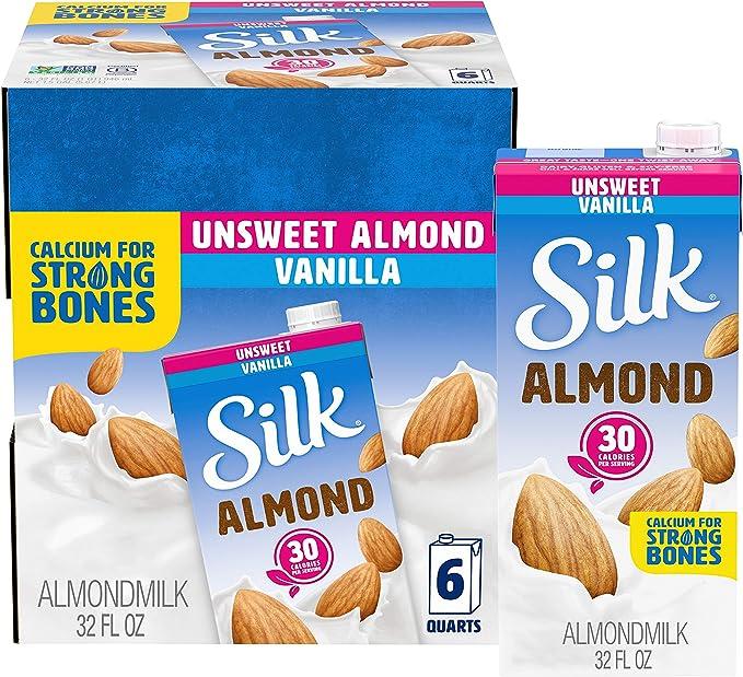 Silk Almond Milk Unsweetened Vanilla 32 Fluid Ounce Pack Of 6