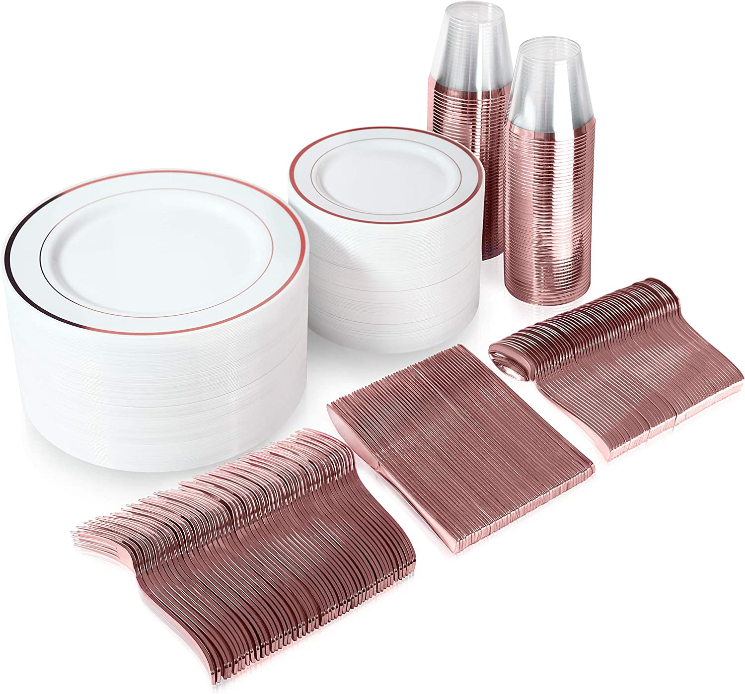 600 Piece Rose Gold Dinnerware Set - 200 White and Rose Gold Plastic Plates - Set of 300 Rose Gold Plastic Silverware - 100 Plastic Cups - Disposable Rose Gold Dinnerware Set for Party - 100 Guests