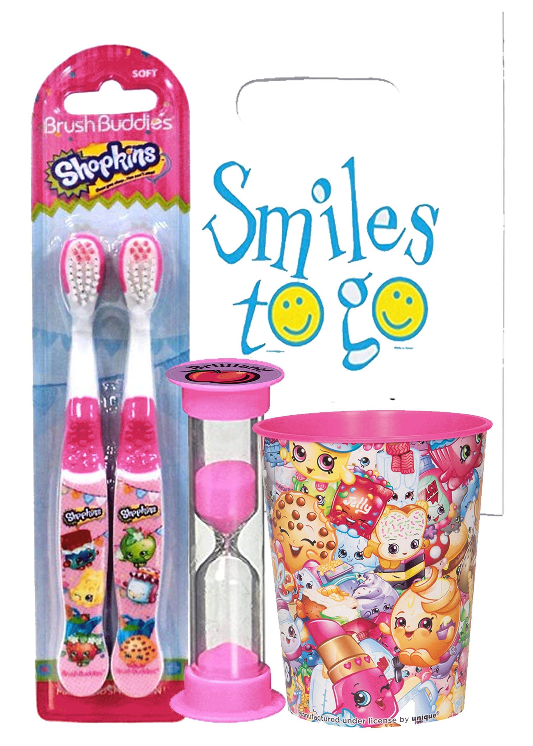 Shopkins Inspired 4pc Bright Smile Oral Hygiene Bundle! 2pk Manual Toothbrush, Brushing Timer & Mouthwash Rise Cup! Plus…