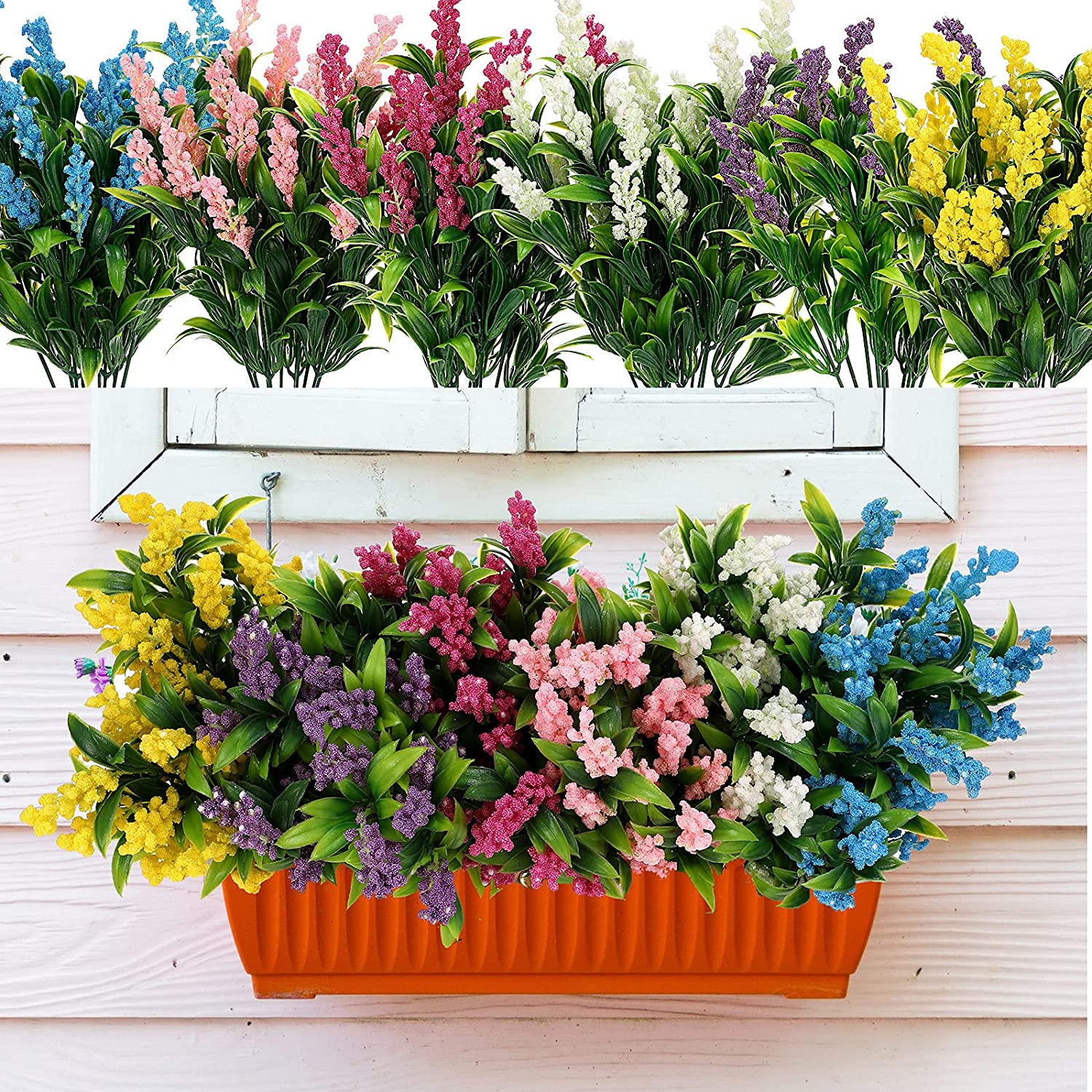 12 Bundles Artificial Flowers Plastic Faux Plants Faux Greenery Shrubs Outdoor UV Resistant Fake Flowers for Indoor and Outside Garden Porch Window Box DIY Decoration, 6 Mixed Colors