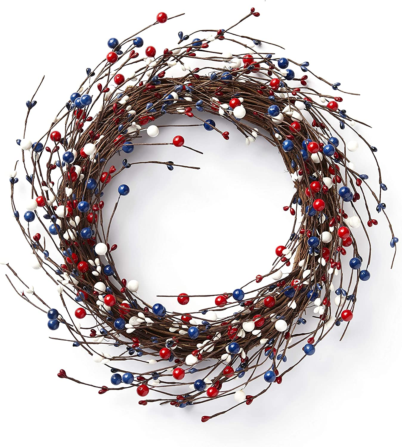 The Lakeside Collection Berry Grapevine Wreath - Front Door Décor for Summer - Red/White/Blue