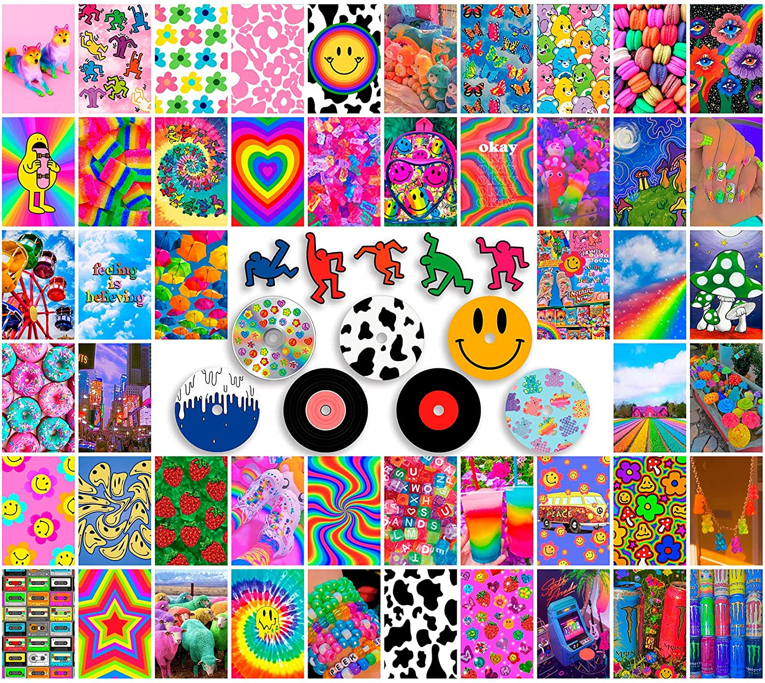 ANERZA Indie Room Decor for Bedroom Aesthetic, Wall Collage Kit Aesthetic Pictures, Posters for Room Aesthetic, Cute Photo Wall Decor for Teen Girls, Y2k Kidcore Trippy Grunge, 4x6 Inch Images (62pcs)