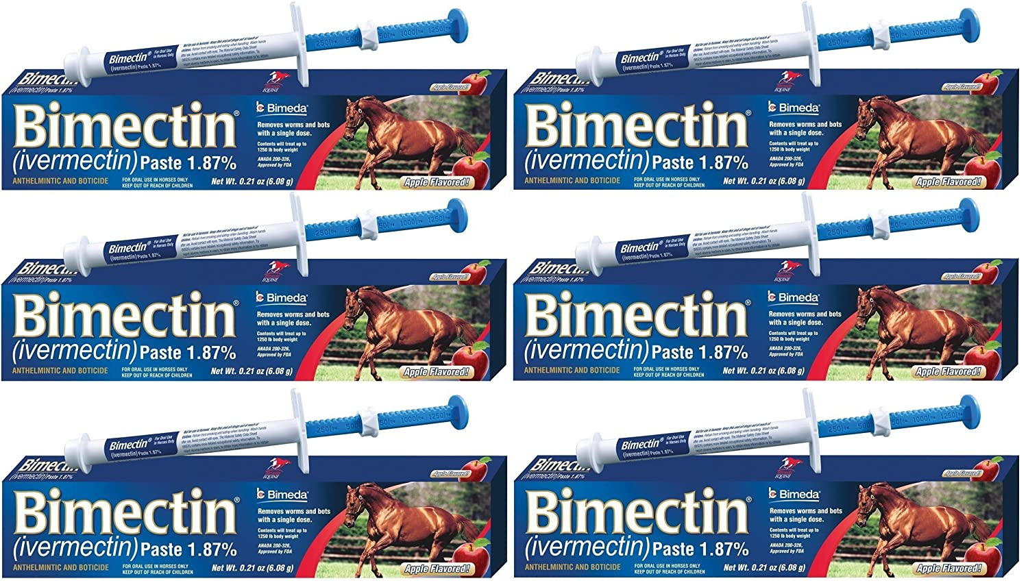 Bimectin Ivermectin Paste Horse Wormer (1.87 Ivermectin) - 6 DOSES, Model:, Home & Outdoor Store Myhoovesandpaws