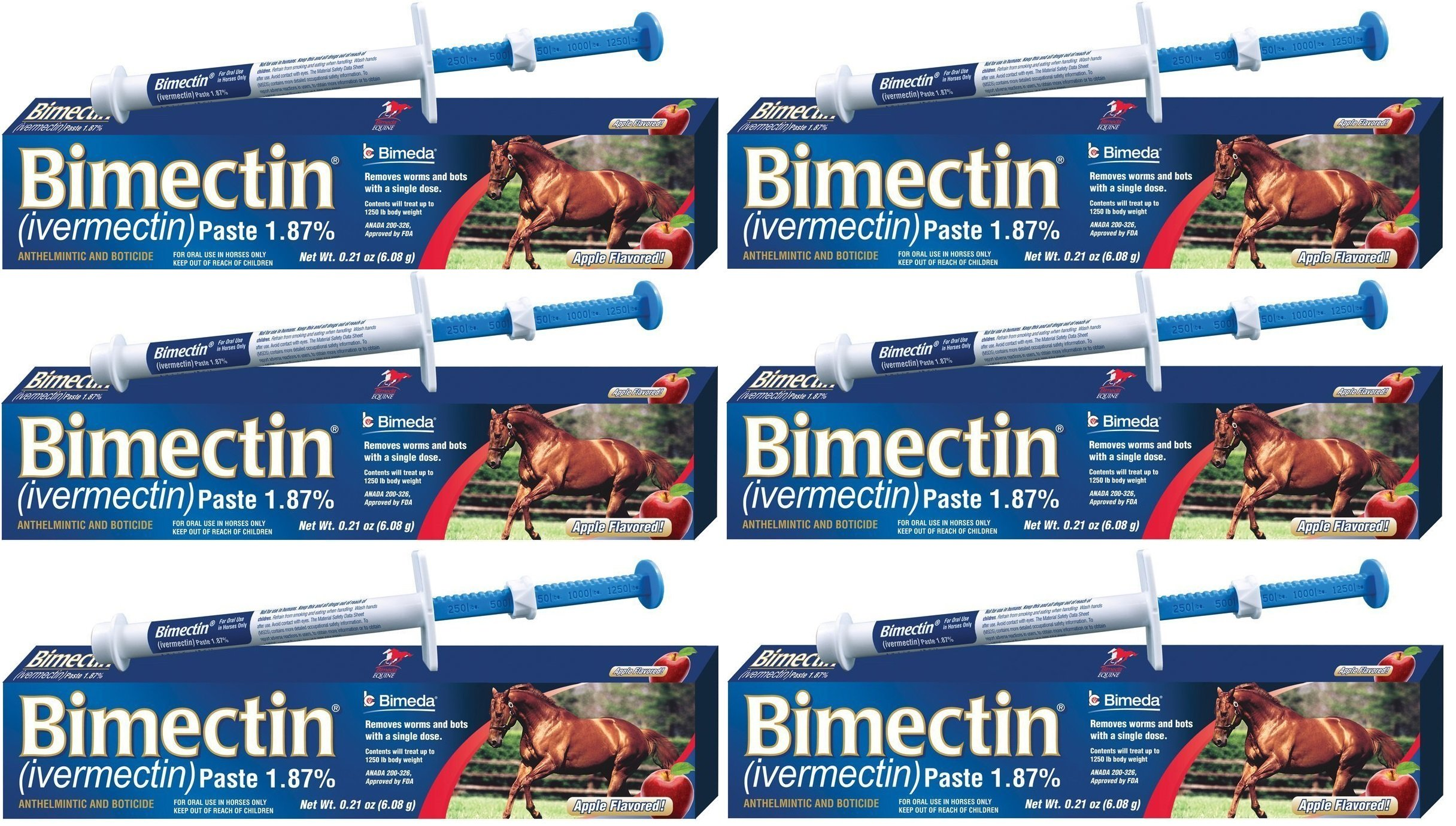 Bimectin Ivermectin Paste Horse Wormer (1.87 Ivermectin) - 6 DOSES, Model: , Home & Outdoor Store by MSRMUS