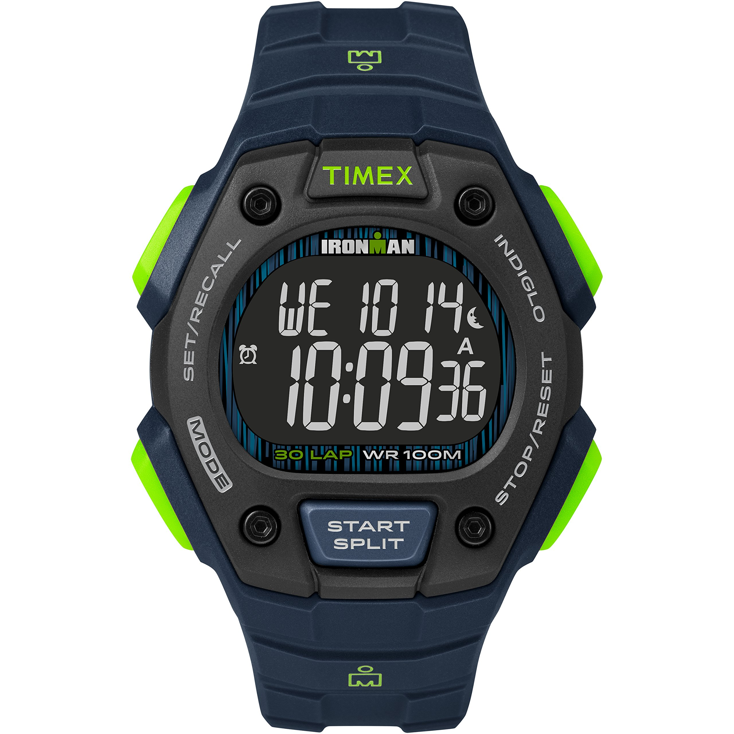 Timex Men's TW5M18800 Ironman Classic 30 Blue/Lime/Negative Resin Strap Watch by Timex