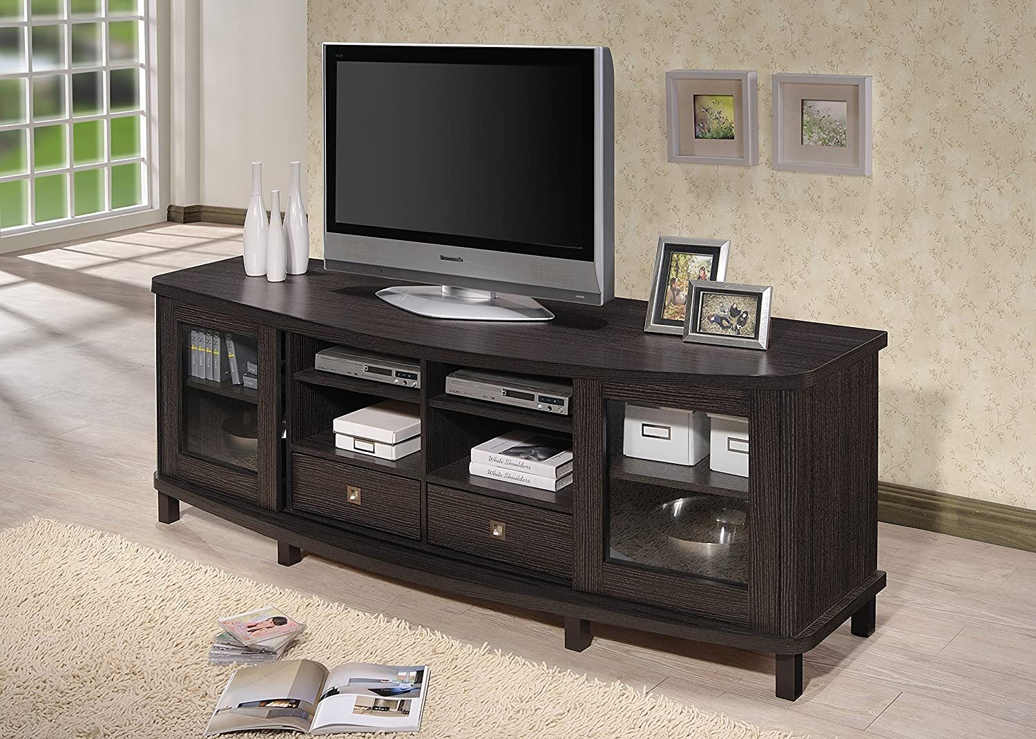 amazoncom wholesale interiors baxton studio walda wood tv cabinet with sliding doors and  drawers  dark brown kitchen  dining. amazoncom wholesale interiors baxton studio walda wood tv